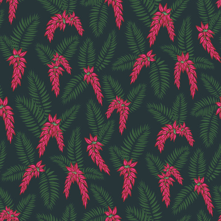 glorious palm leaf midnight flowers tropical seamless vector pattern. bright fuchsia flowers and palm leaves forming a midnight glorious garden with a dark background Illustration