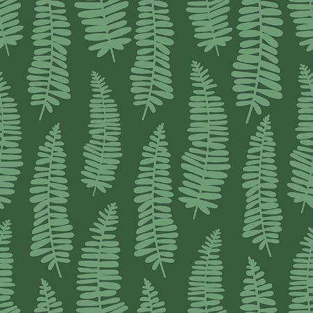 dancing ferns tropical seamless vector pattern. green directional ferns on dark green background