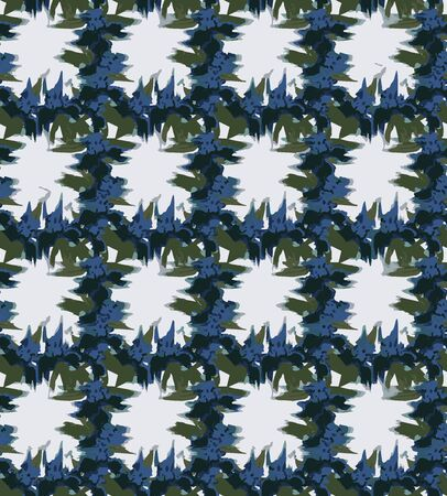 smudged iris checks seamless vector pattern . floral checks with smudged blue iris flower in watercolor with green leaves and off-white background . Seamless vector pattern  イラスト・ベクター素材