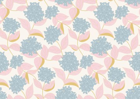 hydrangea splash spring seamless vector pattern. blue hydrangeas with pink leaves forming a beautiful pattern on off white background Illustration