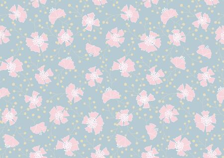 rambled out carnations spring seamless vector pattern. pink carnations and yellow wattles rambled out forming a beautiful pattern on powder blue background