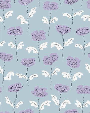 stacked up poppies spring seamless vector pattern. poppies in purple stacked up scribbles on powder blue background  イラスト・ベクター素材