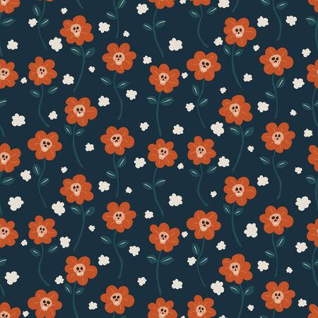 Skullflower field seamless vector pattern. A field of cute flowers with smiling blushing skulls for a centre and smoke puffs around them in halloween palette  イラスト・ベクター素材