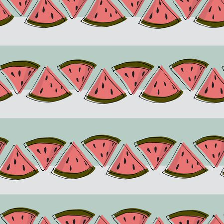 Watermelon tray misprint seamless vector pattern. Cute misprinted watermelon slices on a mind and offwhite stripe backgroud.