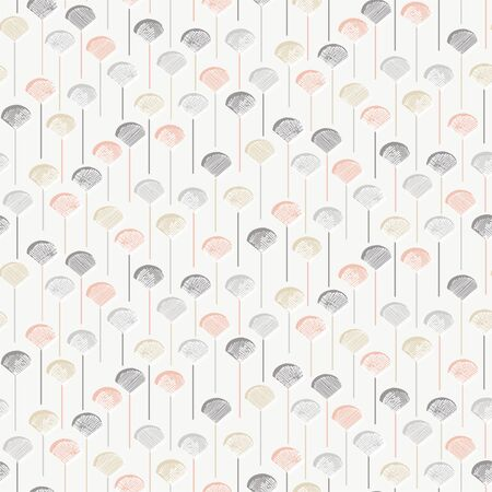Shell pops hatch and cross hatch lollipops seamless vector pattern. Hatched and crosshatched shell shaped lollipops forming scattern pattern in a subtle pastel color palette. Çizim