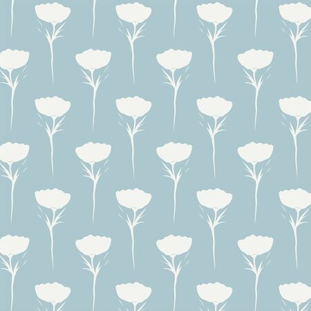 Tiny wildflower garden spring seamless vector pattern. Silhouettes of tiny wildflower in off white laid over mint blue background. Stok Fotoğraf - 132894949