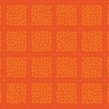 Macaroni abstract check seamless vector pattern. Shapes like macaroni clustered together to form squares and dashed lines forming a check pattern on bright orange background. Çizim