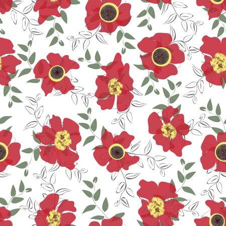 Scattered red poppies seamless vector pattern. Red poppies scattered around with leaves in a loose grid with popping christmas color palette.