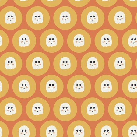 Tiny ghost sticker geaometric seamless vector pattern. Cute tiny ghost in a circle sticker shape repeated in a geametric style creating a cute and bubbly pattern