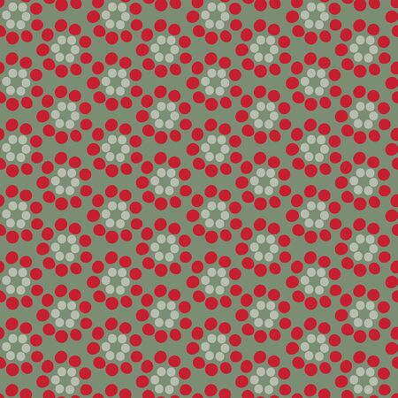 Flower stamens an organic geometric seamless vector pattern. Stamens spread out in circles stacked together giving a floral effect in red and green color palette.