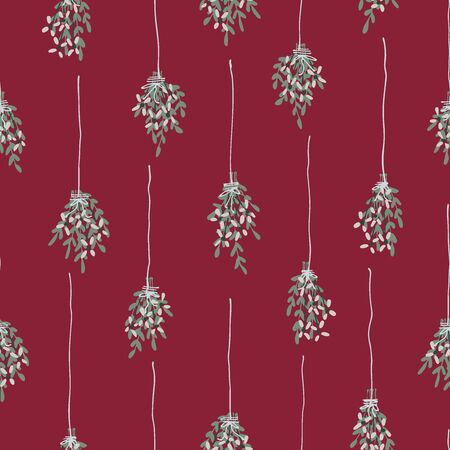 Hanging bouquets seamless vector pattern. Bouquets of flowers hung from top like mistletoes forming a stripy pattern in a christmas color palette. Çizim