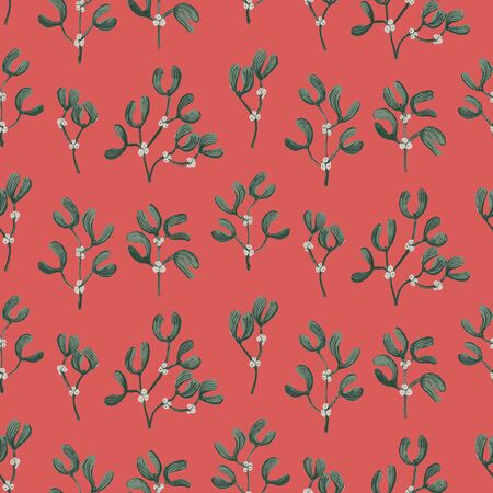 Mistletoe painted seamless vector pattern. Painted mistletoes arranged direactionally forming a beautiful pattern in christmas color palette.