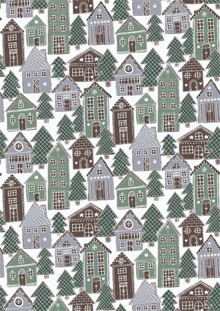 Gingerbread Town seamless vector pattern. Decorated gingerbread houses and christmas trees forming sweet town pattern in winter color palette. Çizim