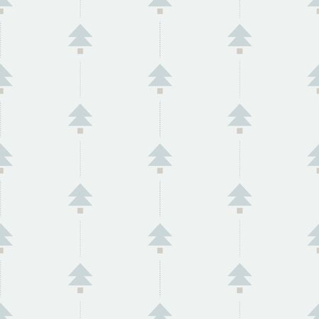 Minimal Christmas Tree seamless vector pattern. Simple and minimal christmas tree vector forming a striped pattern in winter color palette Çizim