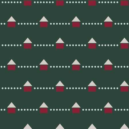 Minimal houses in winter seamless vector pattern. Simple and minimal house vector with horizontal dots forming a stripe pattern in christmas color palette.