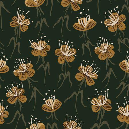 Yellow flower garden seamless vector pattern. Garden of yellow flowers with long pretty stamens on a dark green background. Иллюстрация