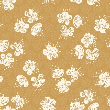 Tossed flower heads seamless vector pattern. Flower heads in offwhite tossed around with textured yellow background.