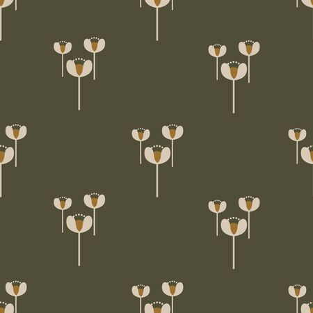 Three little flowers seamless vector pattern. Off-white blooms in set of three scattered arranged well with space between on a olive green background with a streak of mustard yellow.