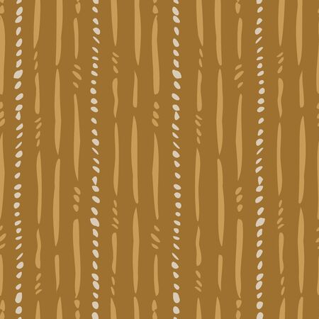Withered stem stripes seamless vector pattern. Loose brush strokes of broken lines representing withered stems forming a strpe pattern in yllows and off-white. Иллюстрация