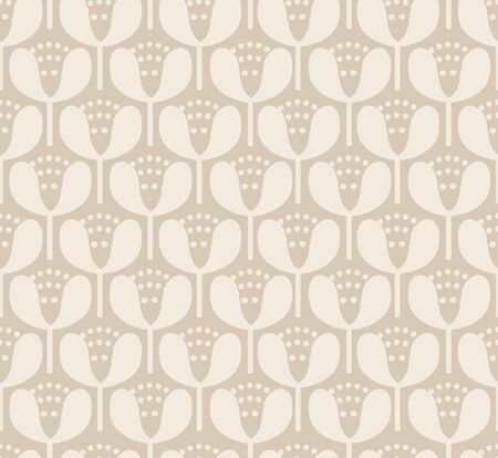 Simple neutral blooms seamless vector pattern. Off white minimal blooms stacked up to form a tight pattern in a neutral color palette.