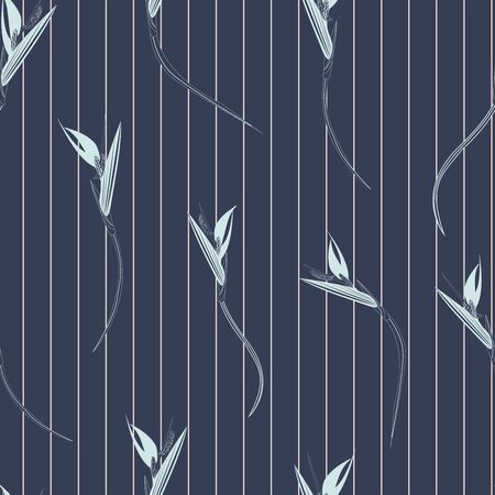 Bird of paradise stripes seamless vector pattern. Strelitzia also known as bird of paradise flower tropical pattern with striped back ground in light and dark blues Иллюстрация
