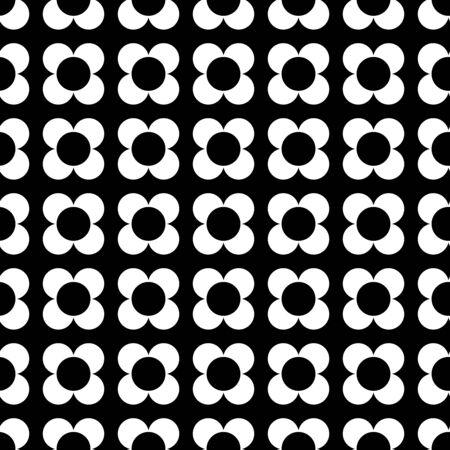 Monochrome four petal flower geometric seamless vector pattern. White four petal flowers arranged geometrically on a black background.