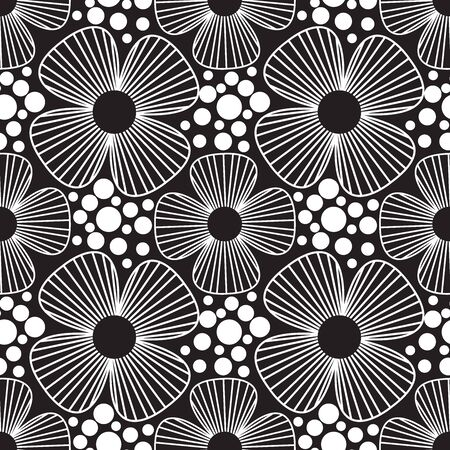 Monochrome four petal flower line drawing seamless vector pattern. White four petal with line details and dot texture on a black background.