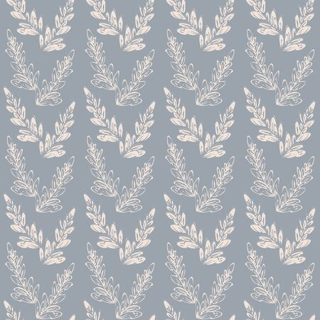 Simpe hand drawn leaves seamless vector pattern. Hand drawn leaf branches arranged in V shape on dusty blue background.