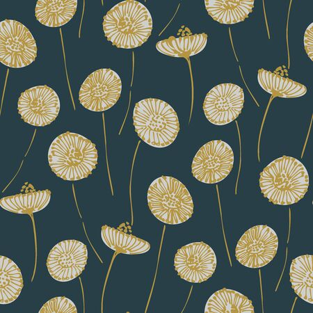 Moving dandelions in ink seamless vector pattern. Yellow and white inked dandelions moving in wind on navy blue background .