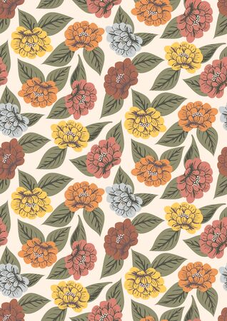 Into the meadow - retro floral seamless vector pattern. Peonies illustrated in retro style and colours on a off white background .