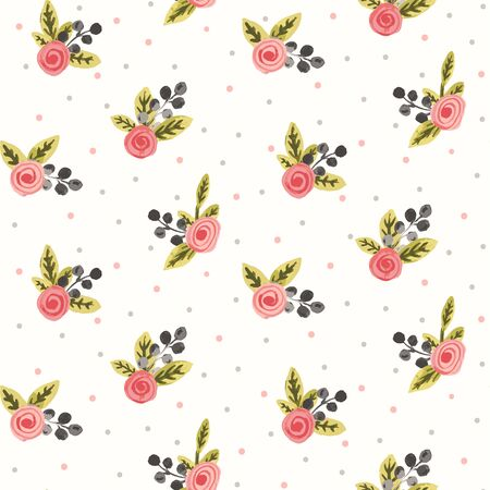 Rose corsage seamless vector pattern. Coral colored rose corsages with olive leaves and grey wattles on with white background with polka dots. Vectores