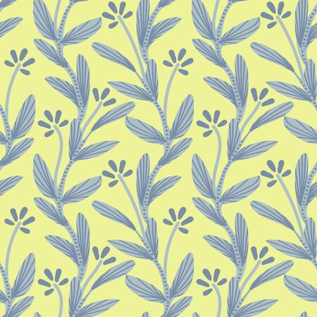 Tiny floral lime green creeper seamless vector pattern. Simple creeping tiny floral plant in greys with dot and line details on lime green background.