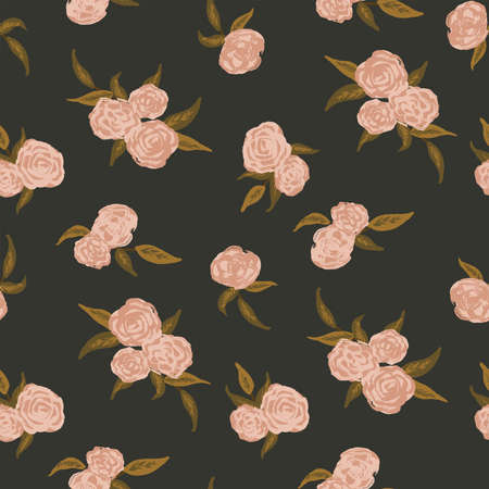 Dark painted roses seamless vector pattern. Great for home decor, fabric, wallpaper, gift-wrap, stationery and packaging design projects.