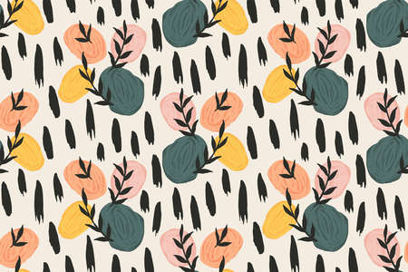 Stones and leaves abstract vector pattern. Great for home decor, fabric, wallpaper, gift-wrap, stationery and packaging design projects.