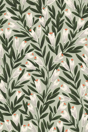Pointy flower ever-growing garden seamless vector pattern. Pretty white flowers with green lush leaves on mint green background. Great for home decor, fabric, wallpaper, stationery, design projects.