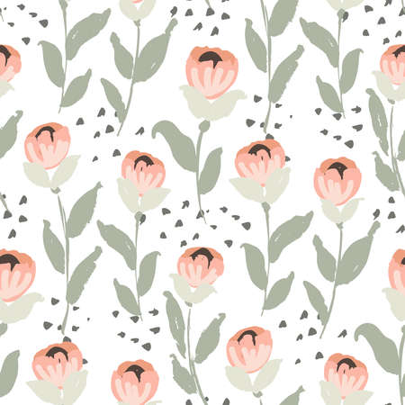 Rosie flower stems seamless vector pattern. Painted flower like a rose in pinks with green leaves on white. Pastel floral repeat. Great for home decor, fabric, wallpaper, stationery, design projects.