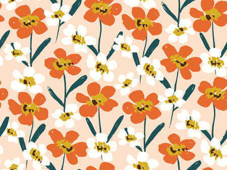 Happy dry painted blooms seamless vector pattern. Joyous flowers in orange and white flower on peach. Colorful hand painted floral . Great for home decor, fabric, wallpaper, stationery, design project