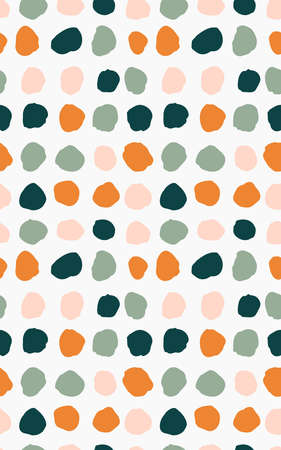 Hand painted dots seamless vector pattern. Dots in orange, pink and green palette over off white. Geometric abstract repeat. Great for home decor, fabric, wallpaper, stationery, design projects.