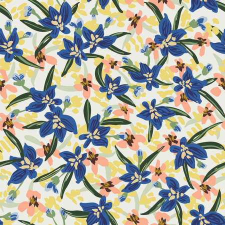 Lobelia flowerbed seamless vector pattern. Beautiful meadow of little flowers in blue, green, peach and yellow on white background. Great for home décor, fabric, wallpaper, stationery, design projects