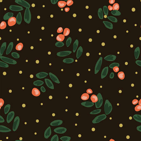 Painted cherry branches in coral and green with golden dots on black background. Christmas seamless vector repeat pattern. Great for home decor, fabric, wallpaper, gift-wrap, stationery, and packaging Çizim