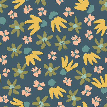 Ditsy flowers in different shapes scattered in glow yellow, green, pink and turquoise over teal. Cute floral seamless vector pattern. Great for home decor, fabric, wallpaper, gift wrap, stationery etc.