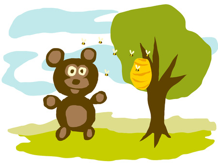 bee hive: A hungry bear watching bee hive, vector illustration