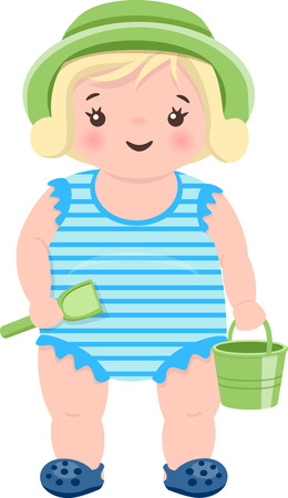 little girls: Little blond girl is playing with sand Illustration