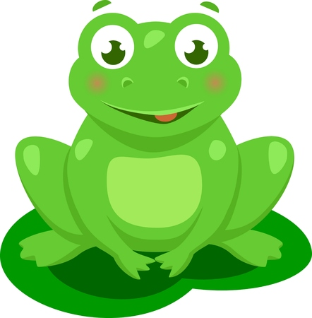 nature one painted: Cute frog cartoon Vector Isolated Illustration