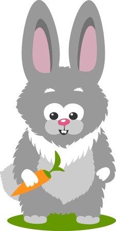 rabit: Vector illustration of a bunny and a carrot, isolated over white background.