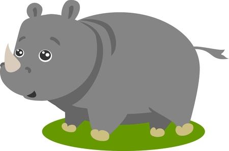 rhino vector: Cute Safari Rhino Vector Illustration