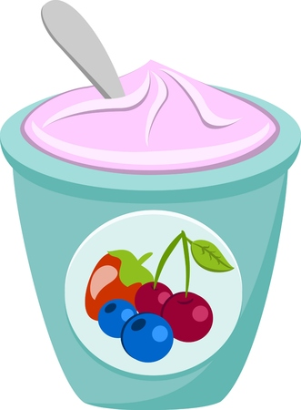 berry yoghurt and spoon Vector Isolated Illustration