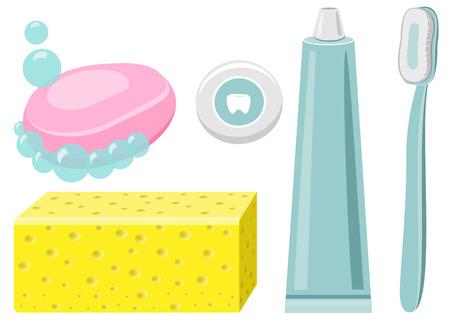 morning rituals: toothpaste, dental floss, toothbrush Vector Isolated Illustration Illustration