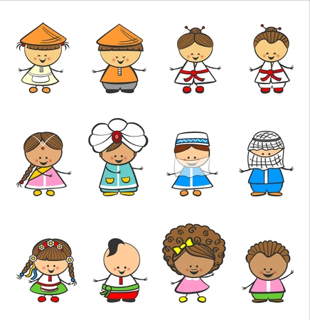 koreans: Happy Children Of Different National Suits Vector Isolated Illustration