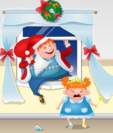 baile caricatura: Papá vestida como Santa que sube por la ventana con los regalos. pelirroja hija llorando. Vectores